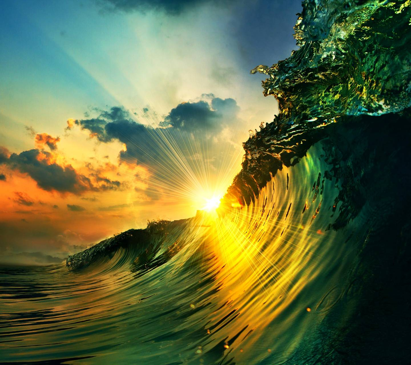 sunset over a wave