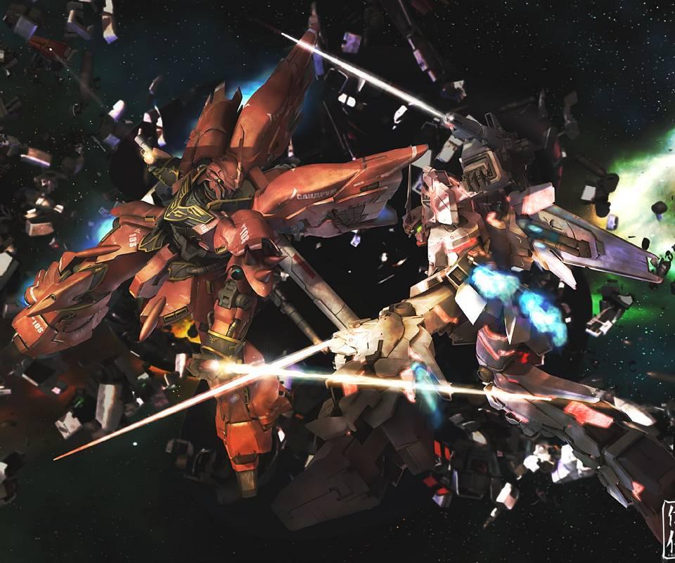 Gundam Iphone Wallpaper: Unicorn Vs Sinanju Wallpaper By Cheesthief