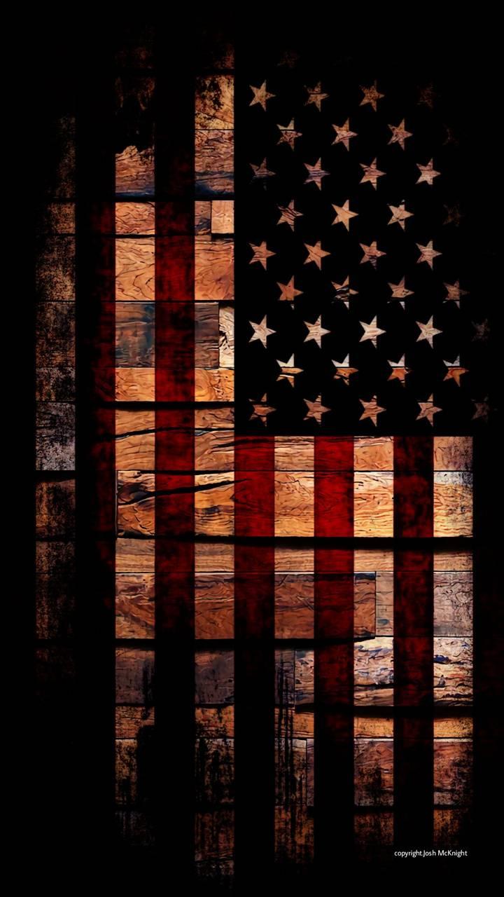 USA Flag on wood BG
