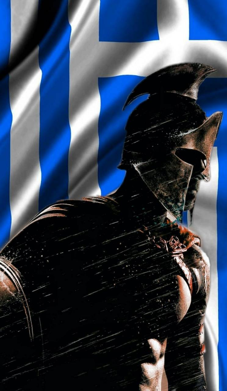 Spartan w Greek Flag
