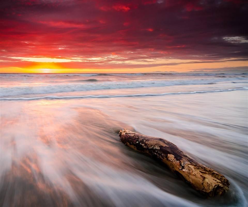 Sea shore at sunset
