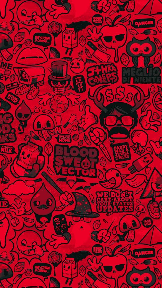 Color Red Doodle Art Wallpaper By Maz Khatib De Free On