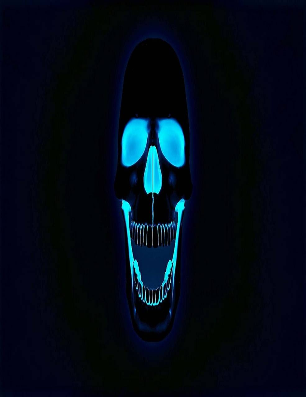 blue neon skull