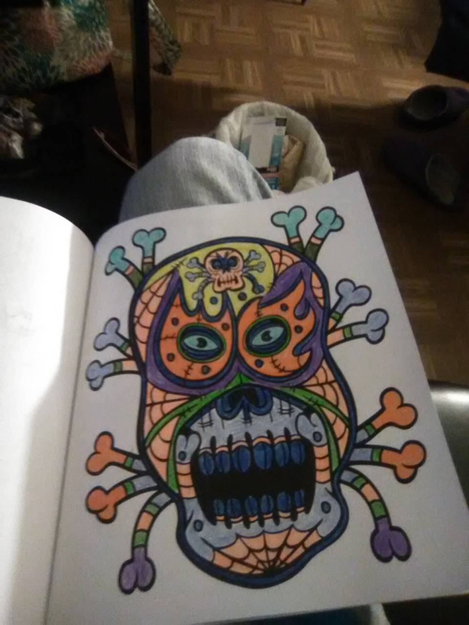 A skull with bones