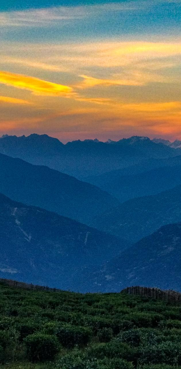 Sunset on hills