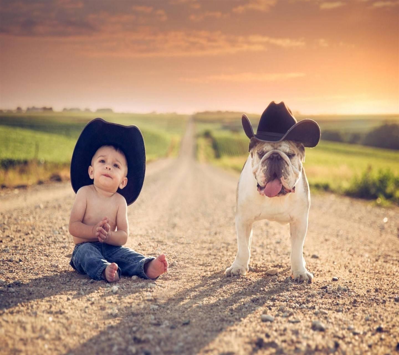 Boy With Bull Dog