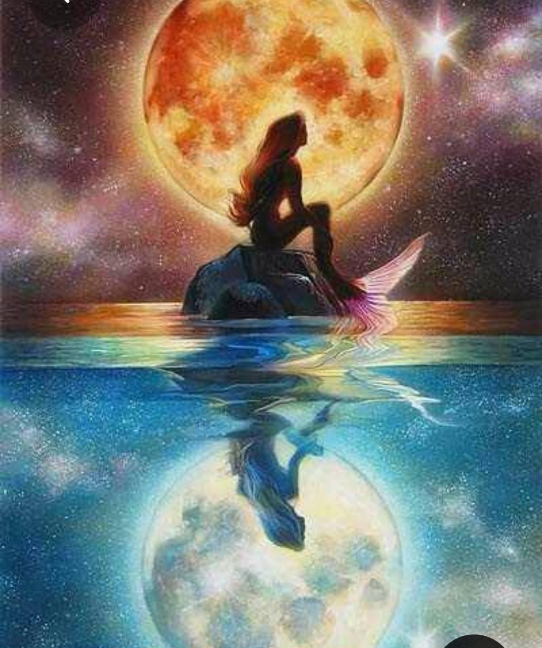 mermaid under moon
