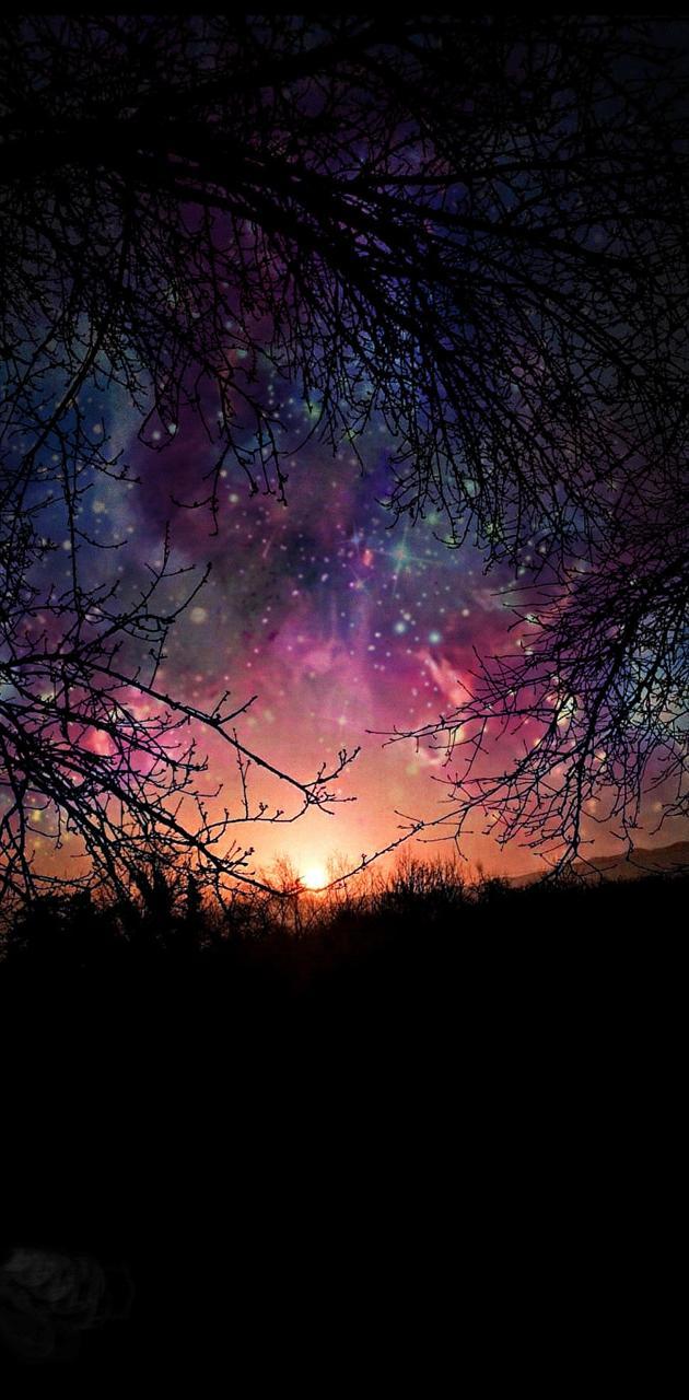 Gece Galaxy Manzara