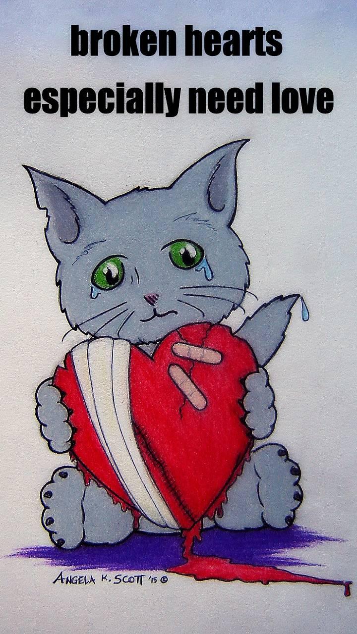 Broken Heart Emo Cat