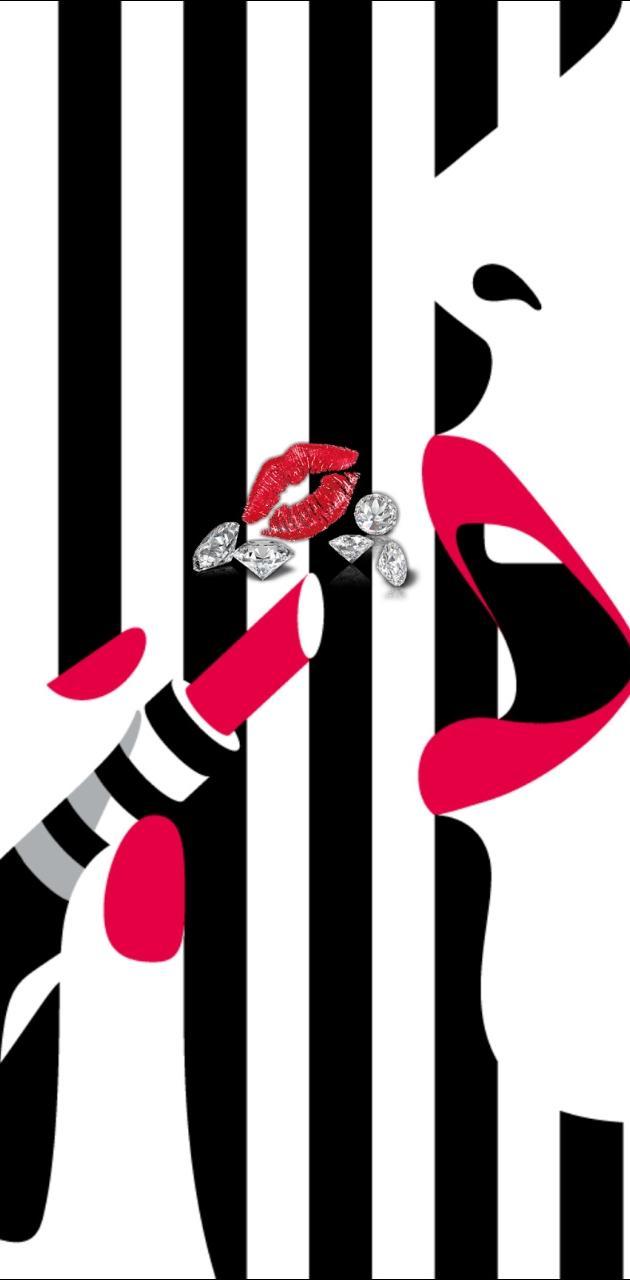 Red lips diamonds