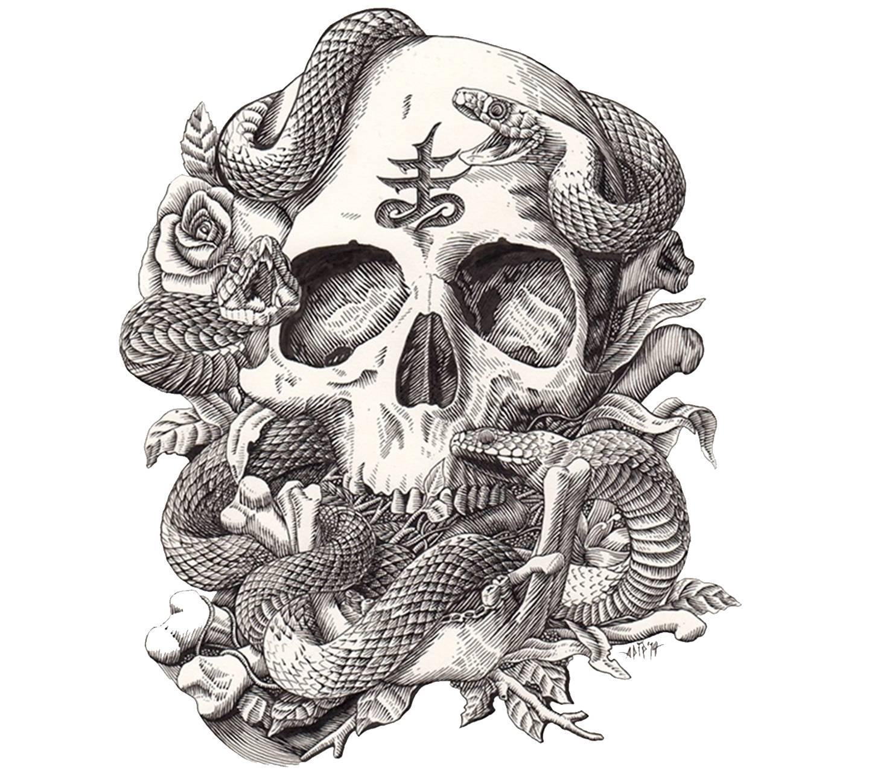 snake skull roses