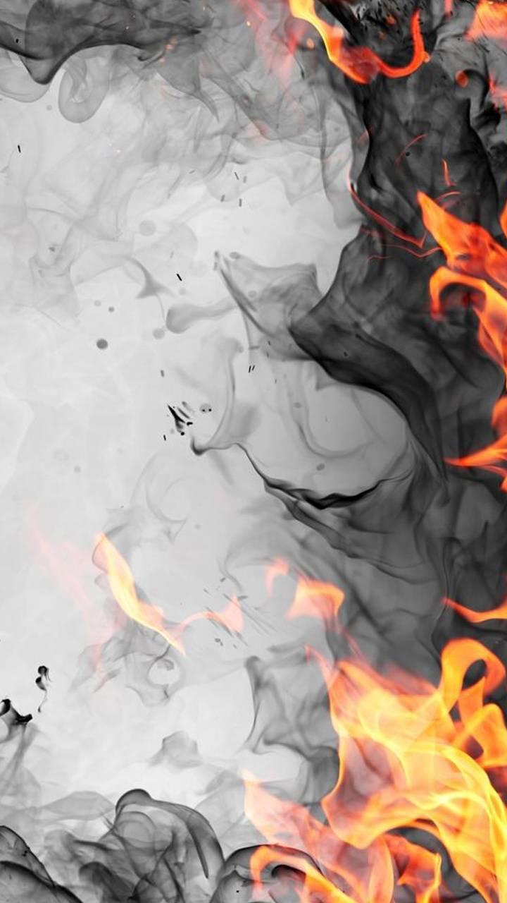 Smoke and flames
