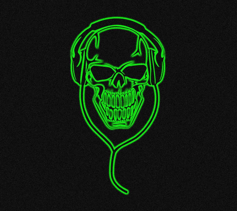 green neon skull