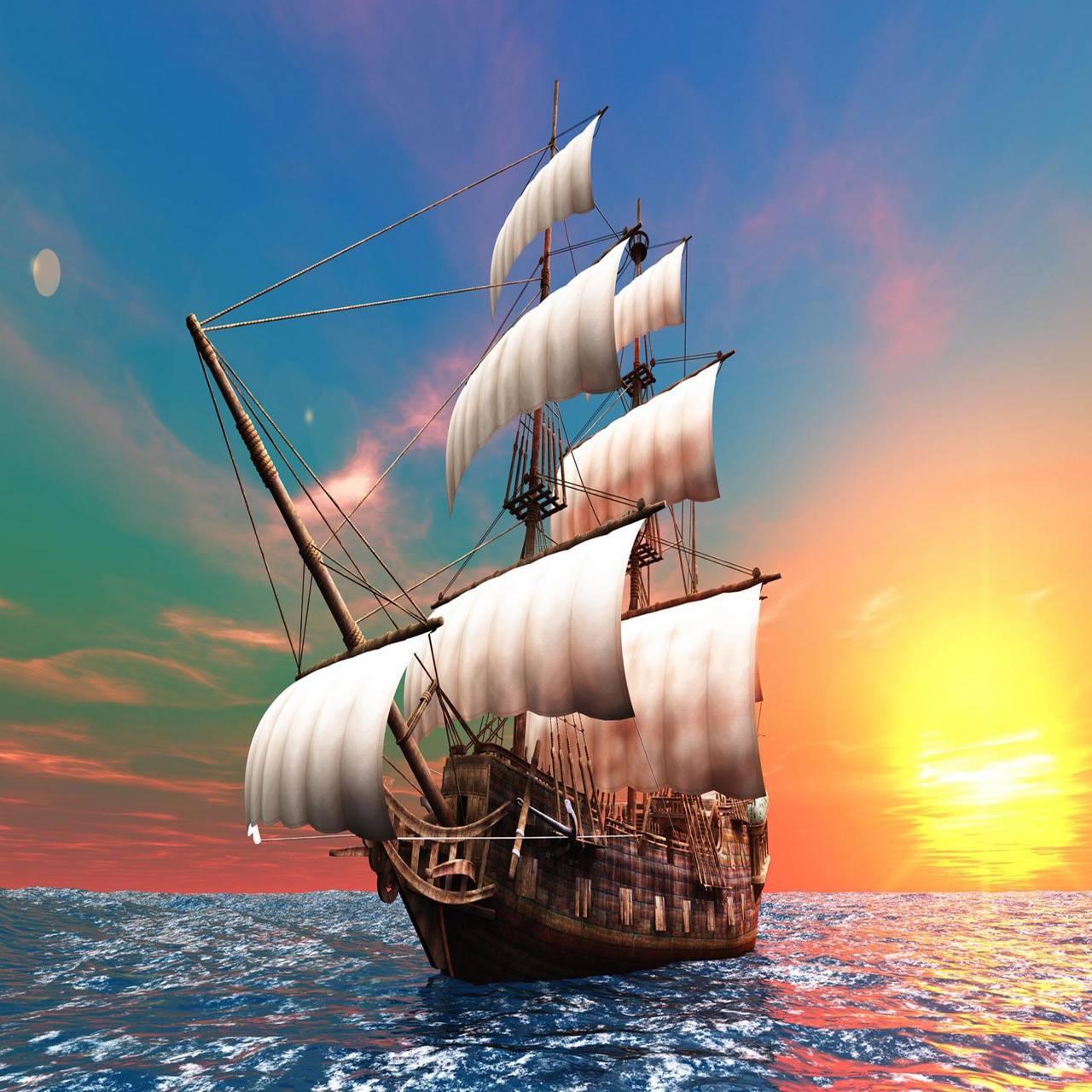 Sailboat dawn Sea