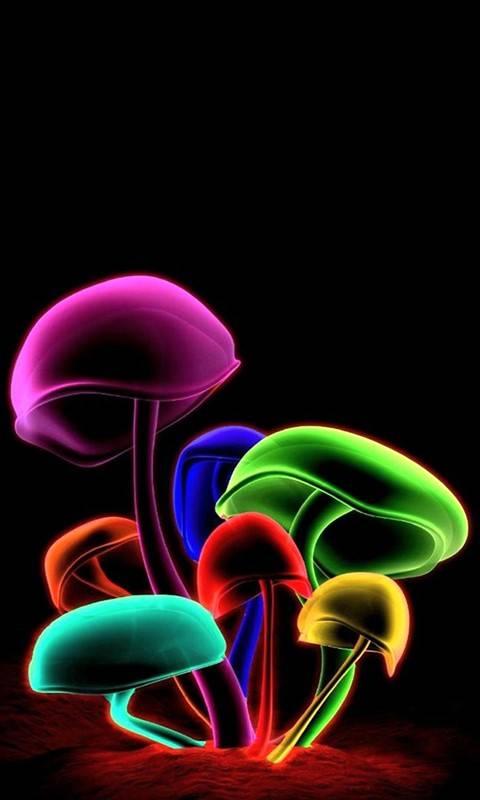 3D color mushrooms