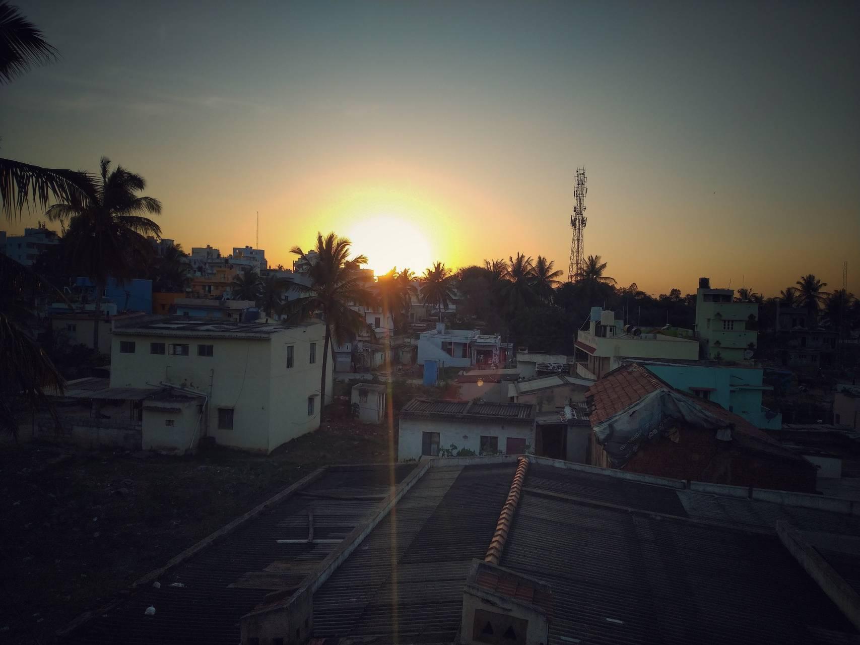 Sunrise in village