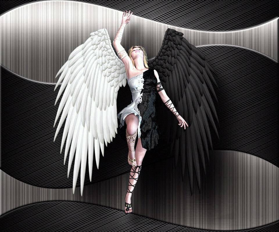 Картинка девушка ангел и демон с крыльями разного