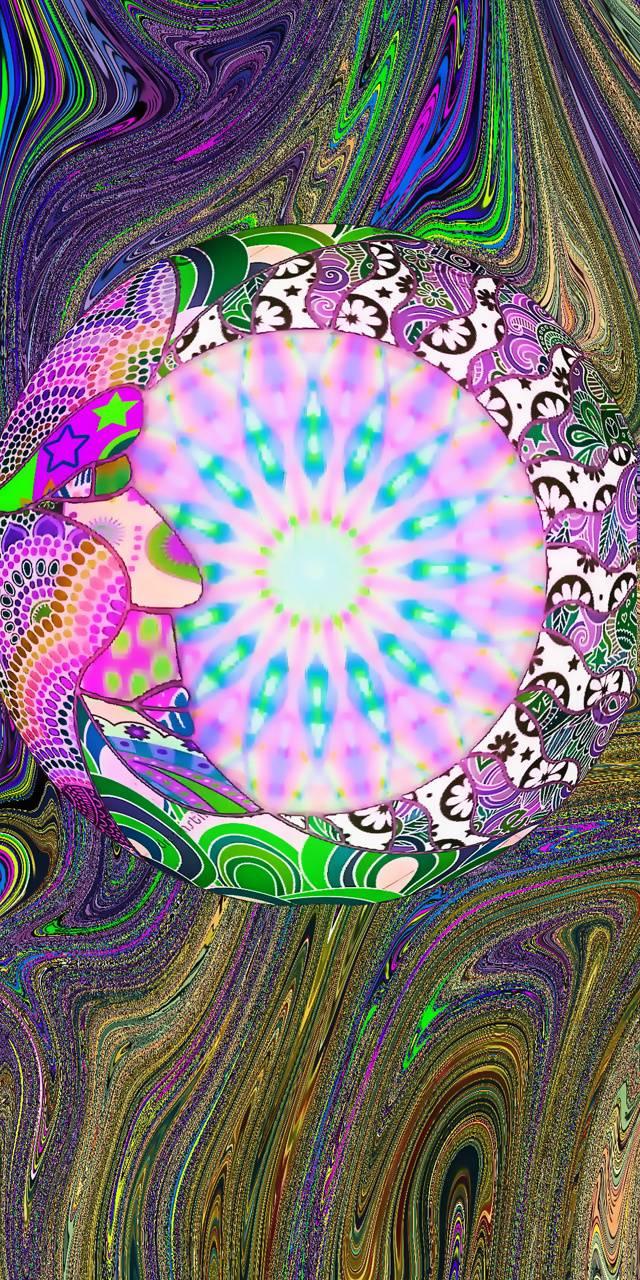 Psychedelic moon sun