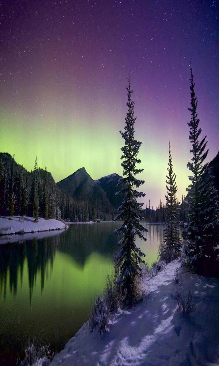 Winter snow lake