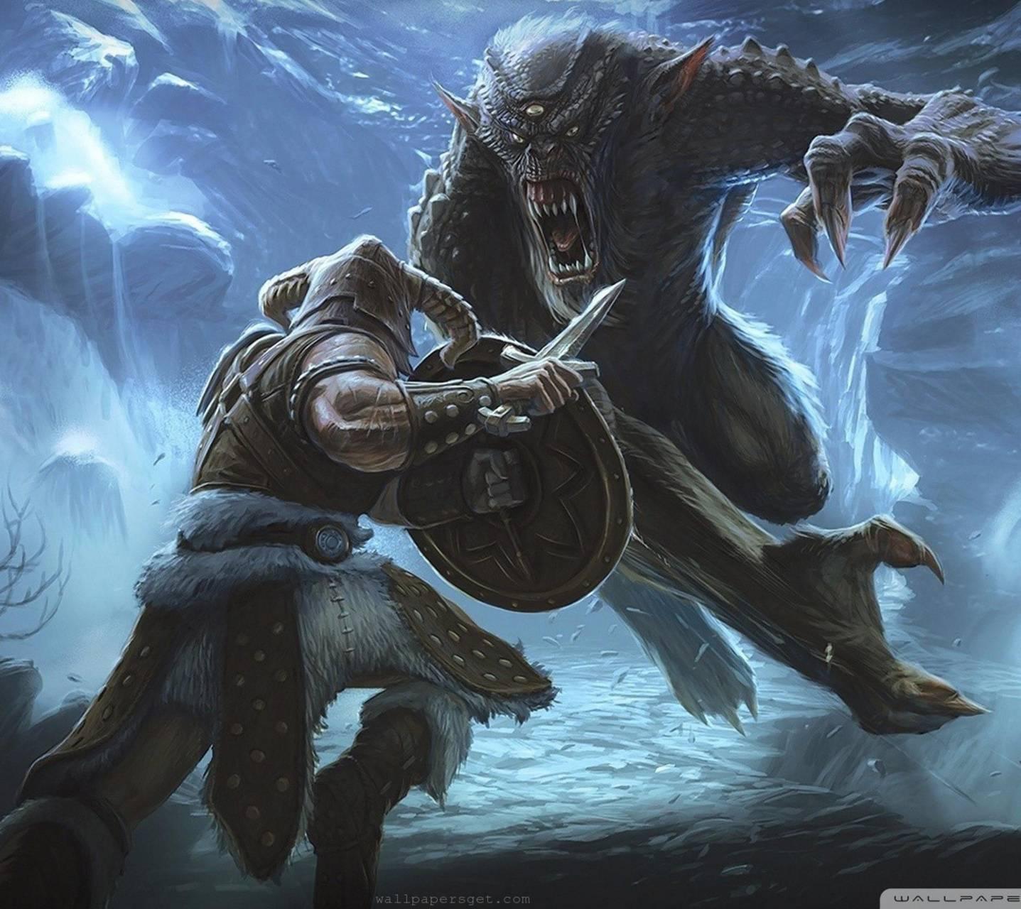 Skyrim Troll Fight