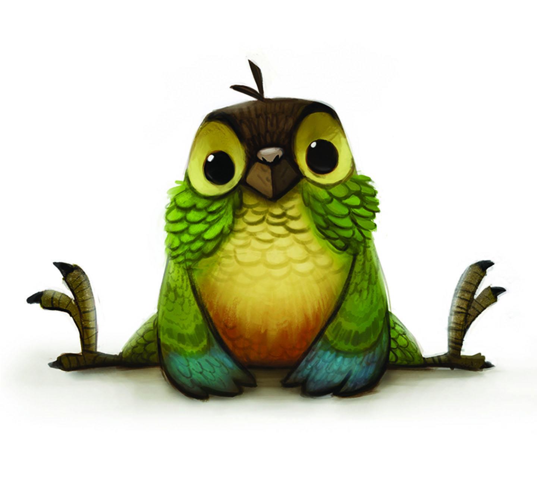 Смешные рисунки птицы, открытка дочери