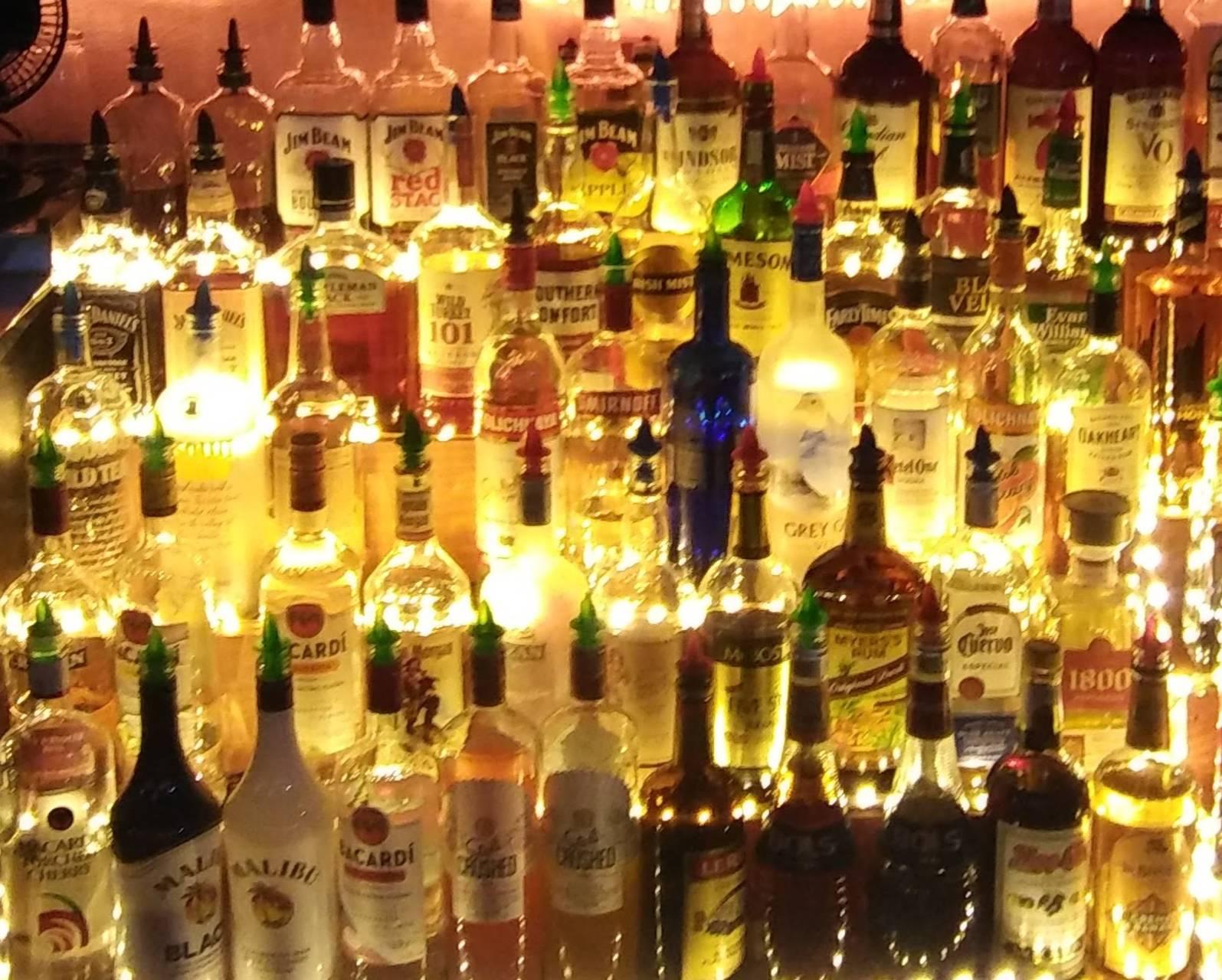 Bottles illuminate