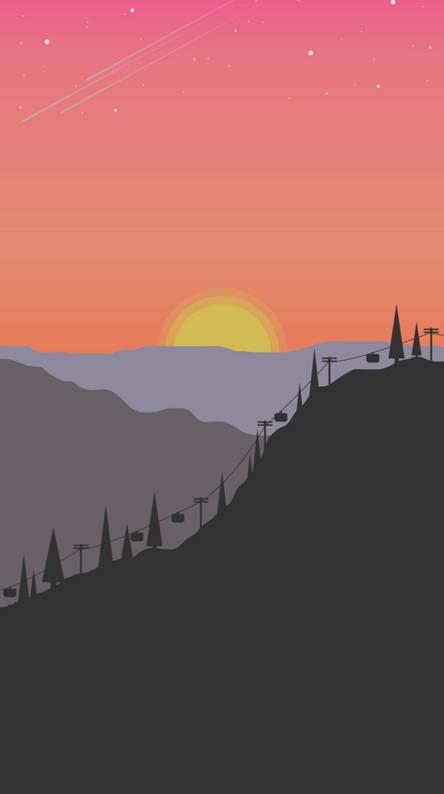 Flat style sunset
