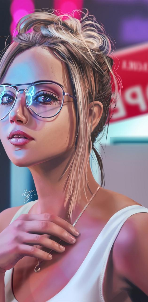 Blonde Girl Neon