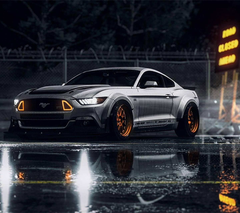 Orange grey Mustang