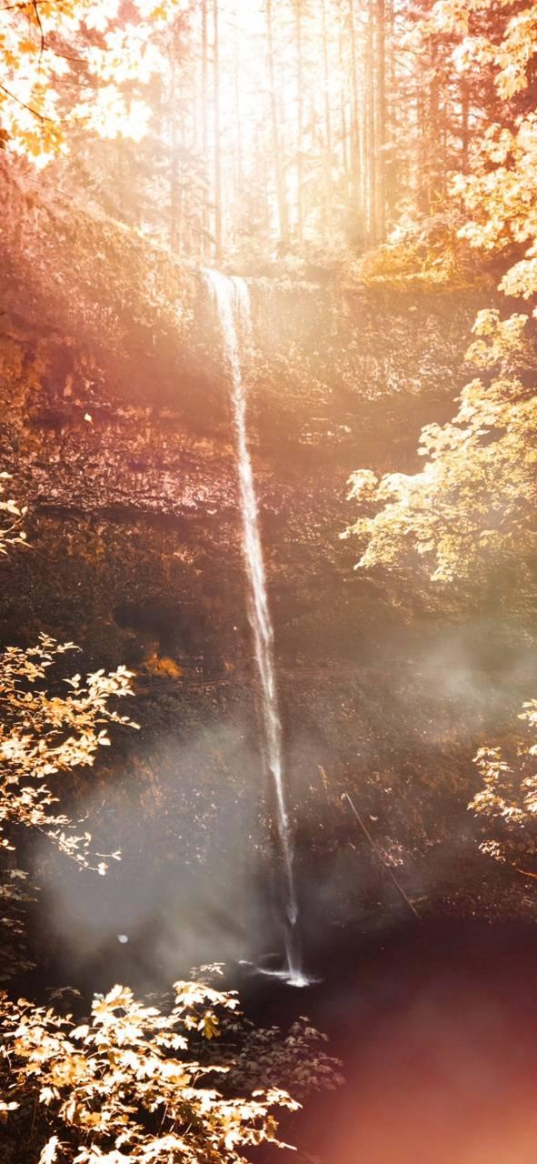 Waterfalls glisten