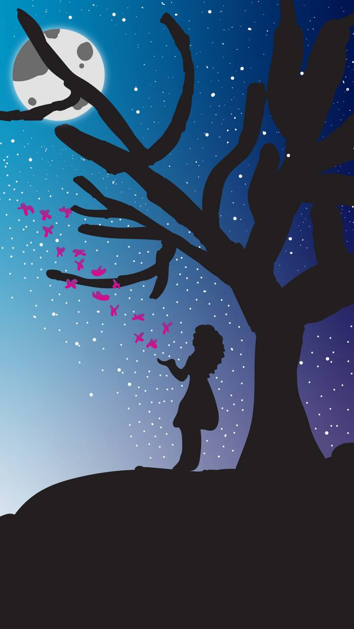 Girl and Moon