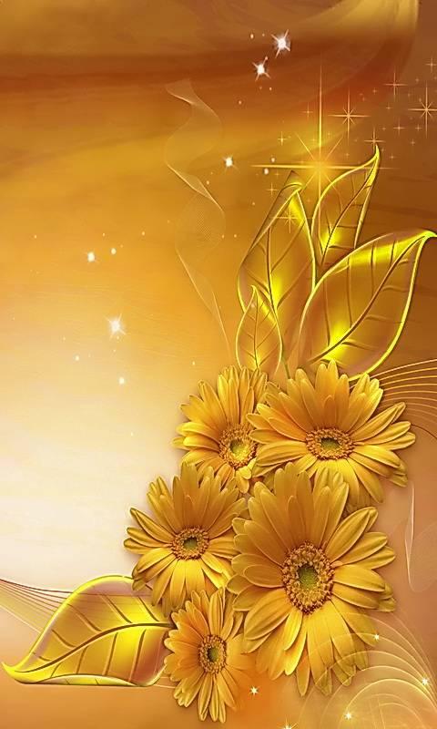 Golden Flowers Wallpaper By MARIKA